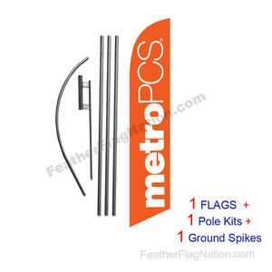 MetroPCS (orange new) 15' Feather Banner Swooper Flag Kit with pole+spike