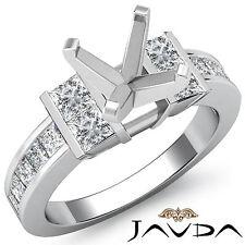 Princess Side Diamond Engagement Ring 14k White Gold 1Ct Asscher Cut Semi Mount