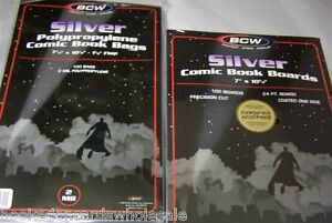 "100 Each BCW 7 1/8"" Silver Age Comic Storage Bags & 7"" Backing Boards"