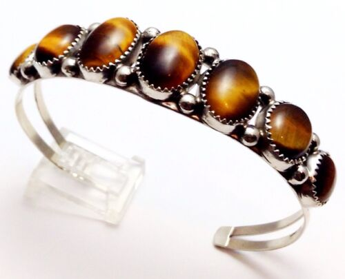 Phillip Yazzie Navajo Tiger/'s Eye Sterling Silver Cuff Bracelet
