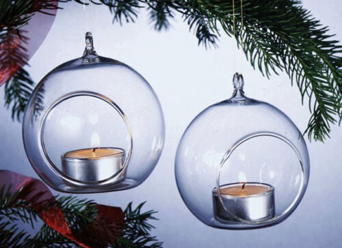 24* 10cm glass ball sphere tree hanging tea light candle holder decoration party