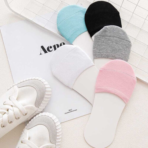 5 Pairs//Set Women Half Foot Toe Cover Socks Black Soft Relief Cotton Breathable