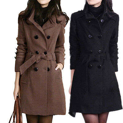 Winter Women Double Breasted Trench Coat Outwear Belted Lapel Overcoat US XS-XXL