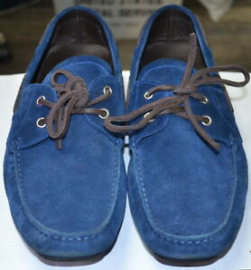 Salvatore-Ferragamo-Men-Blue-Leather-Suede-Loafers-Casual-Shoes-Size-10-D-FH