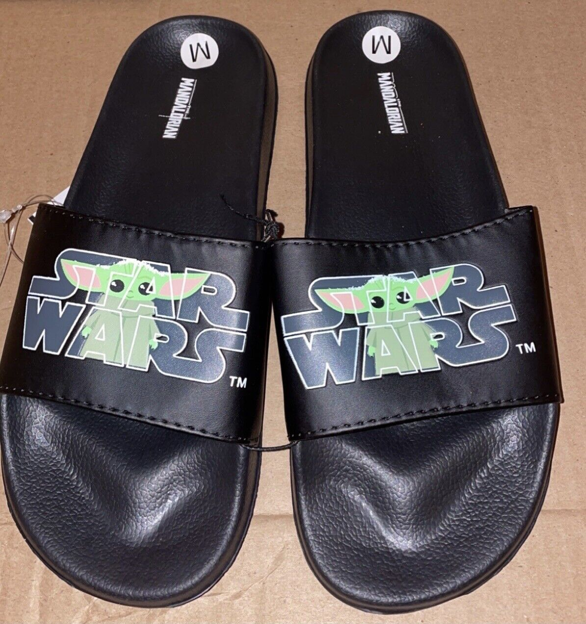 STAR WARS BABY YODA Slides Sandals Mens Size LARGE Size 10/11 New