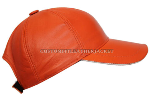 BASEBALL CAP UNISEX ORANGE REAL LEATHER SOFT AND STRONG