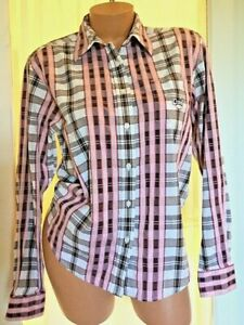 Cruel-Girl-Womens-Button-Long-Sleeve-Shirt-PINK-White-plaid-MED-Western-Cowgirl