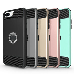 For-iPhone-X-XS-7-8-Plus-Ring-Holder-Stand-Case-Cover-with-Tempered-Glass-Screen