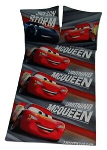 Disney-Pixar-Cars-Lightning-McQueen-Bettwaesche-Set-135-x-200-cm-Grau