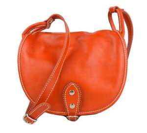 Dettagli su Borsa donna pelle tracolla a spalla arancione piccola vera pelle borsa tracolla