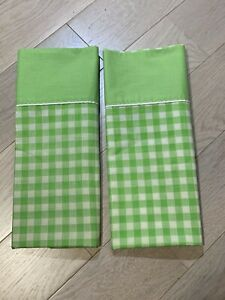 Vintage-Set-of-2-Standard-Pillow-Cases-Green-White-Gingham-JC-Penny-MUSLIN