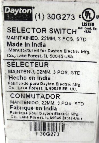 DAYTON 30G273 SELECTOR SWITCH 3 POSITION 22 MM STANDARD