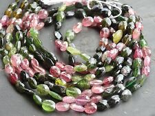 """HAND FACETED TOURMALINE OVAL BEADS, approx 5x6mm, 13"""", 50+ beads"""