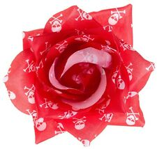 SKULLS CROSSBONES Rose Hair Clip RED SOURPUSS Rockabilly Goth PSYCHOBILLY PINUP