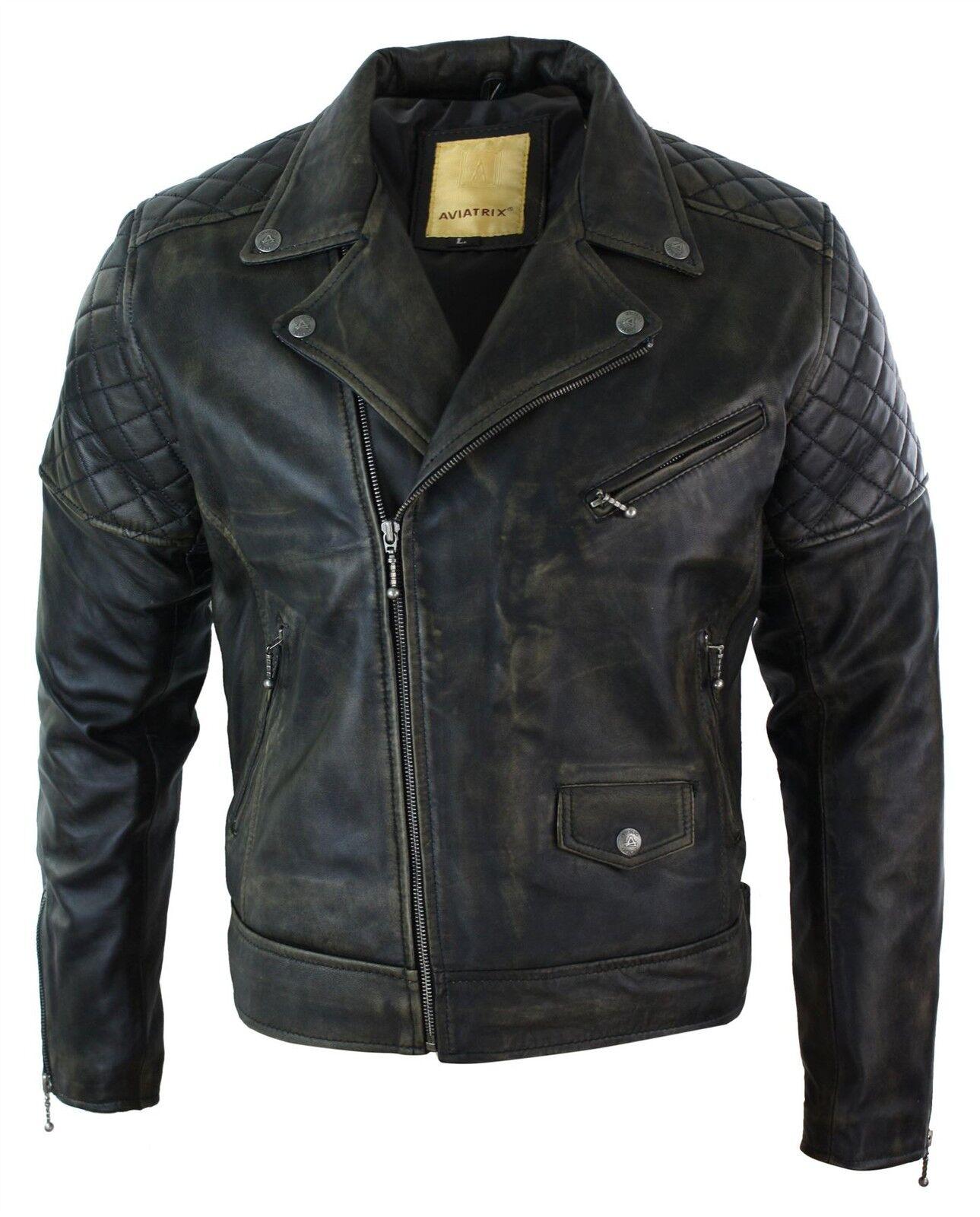 Blouson homme cuir véritable fermeture zip diagonale noir marron style vieilli