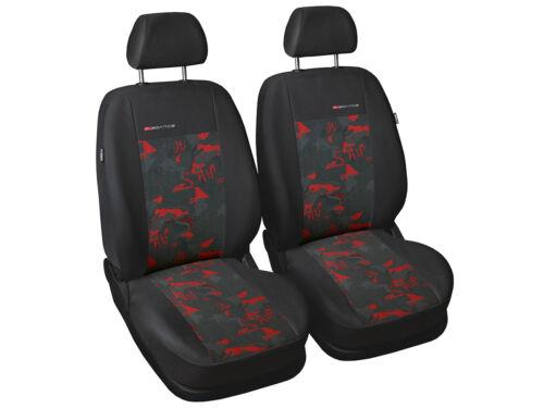 2 cubiertas de asiento de Coche Apto Opel Adam Carbón//Rojo Fundas de los asientos delanteros