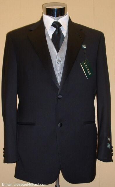 NEW RALPH LAUREN Wool Notch Black Tuxedo FREE Vest & Bow 41 Regular 41R Tux suit