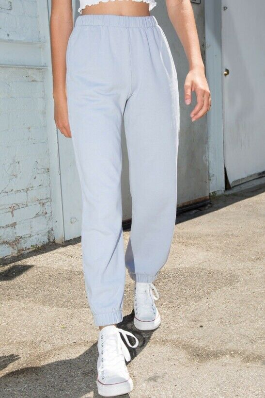 brandy melville high rise sky blue thick cotton pull-up Rosa sweatpants NWT sz S