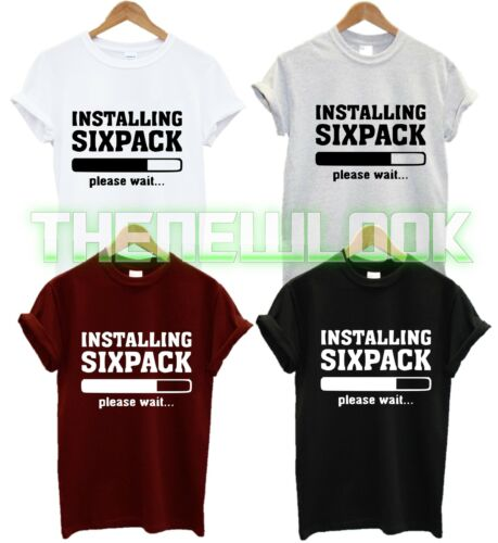 INSTALLING SIXPACK PLEASE WAIT T SHIRT WORKOUT ID FITNESS SQUAT WEIGHTS GYM NEW
