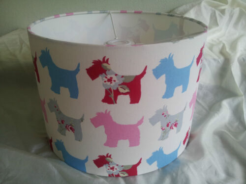 """Scotties PINK 12/""""//30CMLAMPSHADE MADE FROM Clarke and Clarke  FABRIC"""