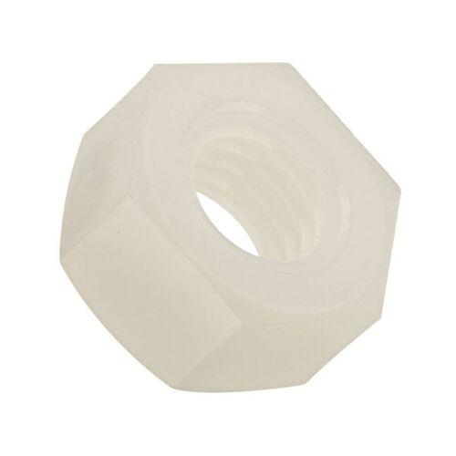 10 pack of M6 Nylon Plastic Full HEX Nuts