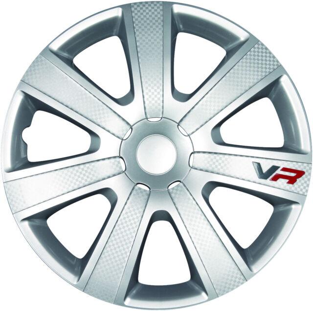 """4 x Radkappen VR CARBON 13"""" Zoll Silver Silber Radzierblenden VW BMW OPEL"""