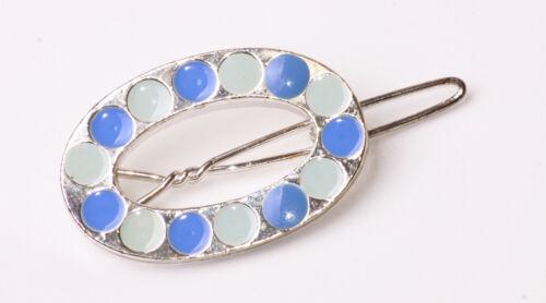 Belle forme ovale Argent Pince à Cheveux Ton Bleu ZX25 menthe Dots de haute qualité