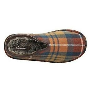 Clarks-Multi-check-warmed-men-039-s-slippers-sizes-7-12-G-Wide-fitting