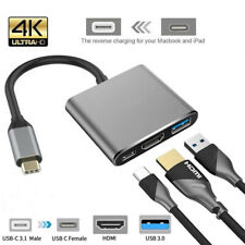 C Multi-port Adapter PD Charging 3 in 1 Hub USB 3.0 4K HDMI For MacBook Air Pro