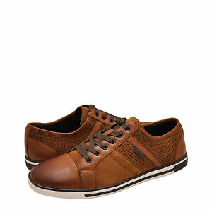 Men-039-s-Shoe-Kenneth-Cole-Initial-Step-Leather-Lace-Up-Sneaker-KMS7LW004-Rust-New