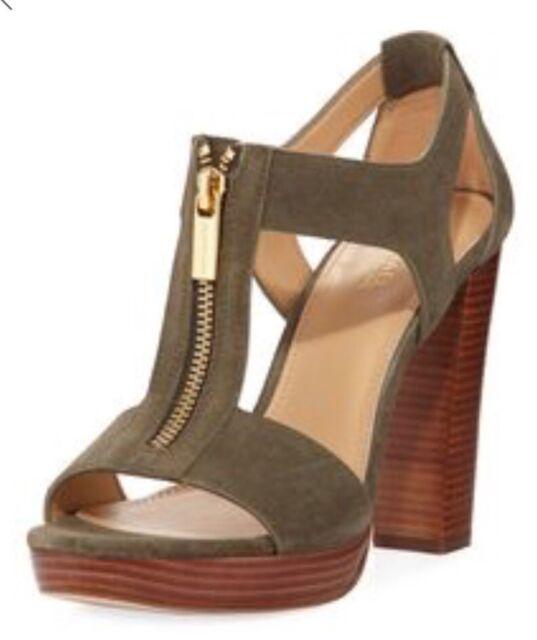 c5f25c3ce83d New MICHAEL Kors Berkley T-Strap Platform Dress Sandals olive zipper closure