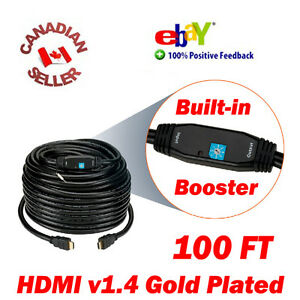 100ft-HDMI-1-4-Cable-M-Male-TV-3D-DVD-PS3-PS4-HDTV-30M-1080p-w-Signal-Booster