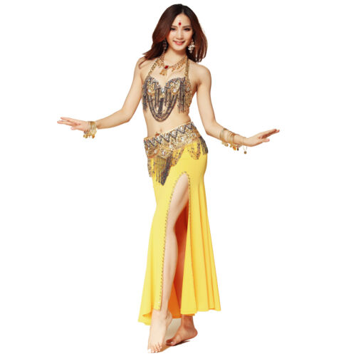 New Sequined Belly Dance Costumes Bra and Belt Set Indian Dancing Clothes S M L