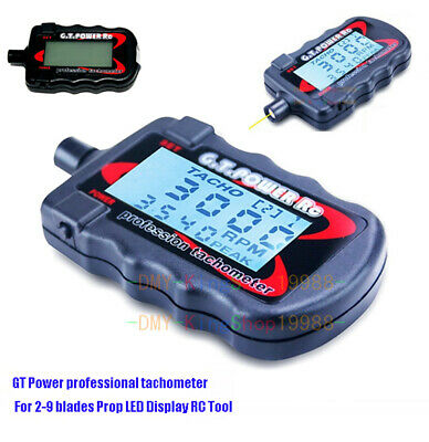 Power Mini Tachometer for 2-9 Blades Prop with Sharp backlit LCD Screen G.T