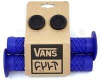 Cult X Vans Flanged Bmx Bike Grips W/ End Plugs Waffle Pattern 143mm - Blue