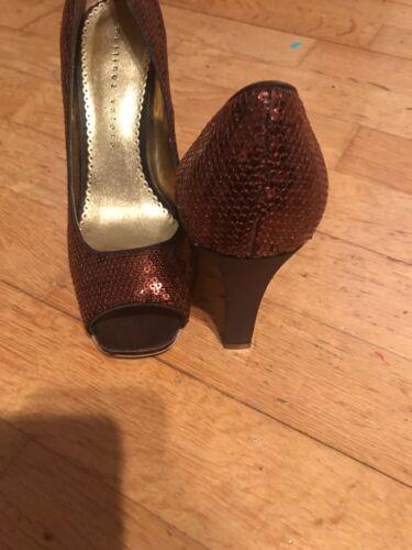 5 Bronze Sequin Shoes Toes New 7 Ladies Open Heels Size High wRPtRvfq