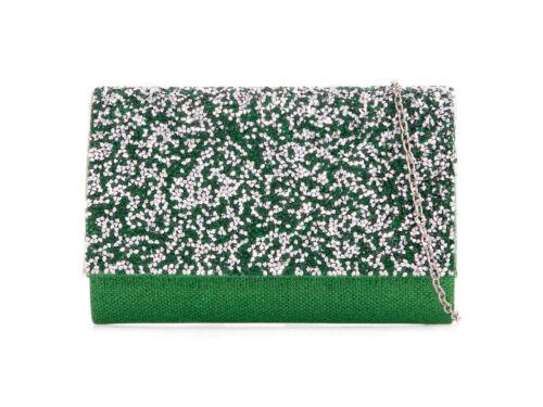 Women wedding shimmer glitter party prom clutch bag purse evening UK