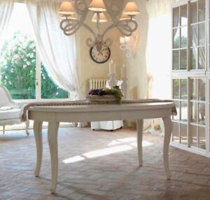 Tavolo Francese Provenzale Allungabile Bianco Crema Ovale 110x160 240 Shabby Chi Ebay