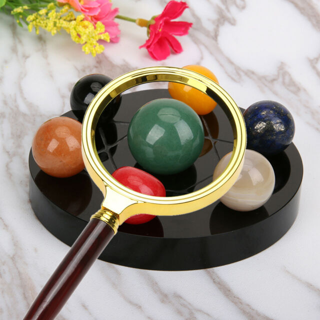 10X Wood Handle Magnifying Glass Delicate Handheld For Jewelry Reading