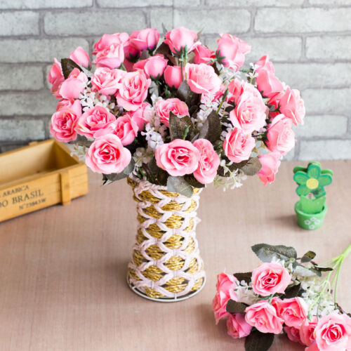 12 Head Artificial Silk Fake Rose Flowers Floral Wedding Bouquet Party Decor