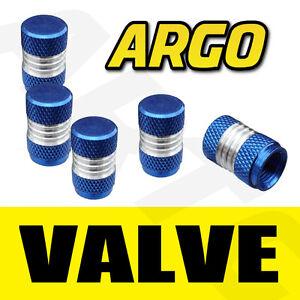 BLUE-CHROME-VALVE-DUST-TYRE-WHEEL-CAPS-FORD-FIESTA-HATCHBACK-ST-ZETEC