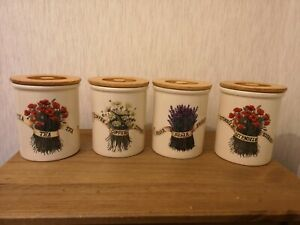 Details About 4 Tg Green Cloverleaf Floral Tea Coffee Sugar Utensil Storage Pot Containers