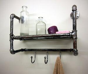 Industrial-Vintage-Pipe-Wall-Storage-Coat-Rack-Shelving-Bathroom-Rustic-Shelf