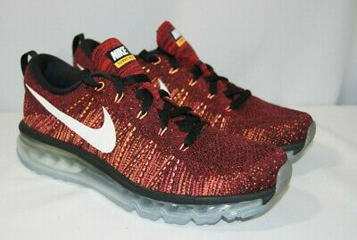Nike Flyknit Air Max Size 8.5 Running Shoes 620469 011 Black Red Bright Citrus 888507620910 | eBay