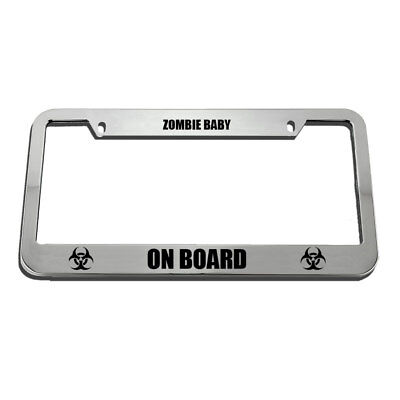Chrome License Plate Frame ZOMBIES EAT BRAINS Auto Accessory