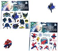 1 BATMAN & 1 SPIDERMAN TATTOO SHEET Boys Birthday Party Bag Filler Christmas