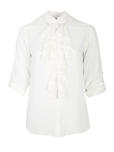 LOVEDROBE GB Pour Femme Taille Plus Blanc Ruffle Front Shirt