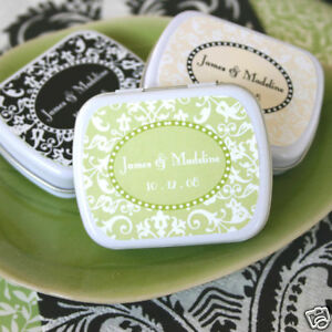 Image Is Loading 150 Personalized Damask Bridal Wedding Favor Box Mint