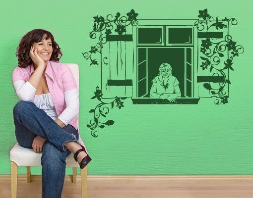 Grandma at window - highest quality wall decal stickers