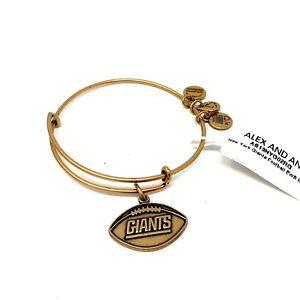 Alex-And-Ani-New-York-Giants-Gold-NFL-Football-Charm-Bangle-Bracelet-NWT